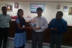 J. JEBASLIN AKSHA -Std IX Receiving  Second Prize from Kanyakymari District Collector for classes IX-X (Group) Category in the World Small Savings Day Drama Competition conducted for Kanyakumari District