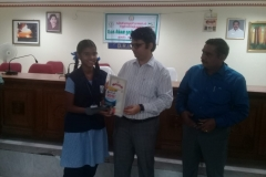 K. HARSHINI - Std IX Receiving  Second Prize from Kanyakymari District Collector for classes IX-X (Group) Category in the World Small Savings Day Drama Competition conducted for Kanyakumari District on 3