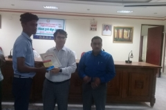 X.I. NISHIN JERRY -Std XII  Receiving Third Prize from Kanyakymari District Collector for classes XI-XII (Group) Category in the World Small Savings Day Dance Competition conducted for Kanyakumari Distri